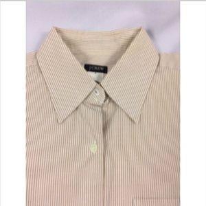 J.Crew Women Beige Striped Button Front Shirt.